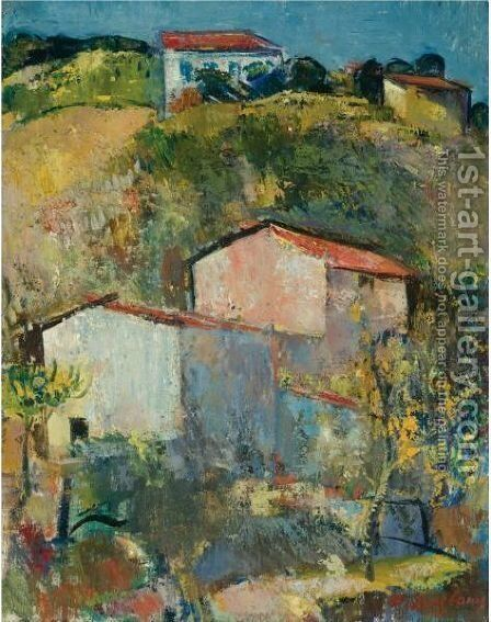 Hauser Am Hang (Houses On A Slope) by Anton Faistauer - Reproduction Oil Painting