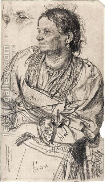 Tiroler Bauerin (Woman From The Tyrol) by Adolph von Menzel - Reproduction Oil Painting