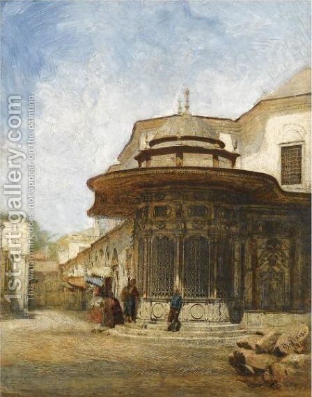 An Ottoman Kiosk On Alemdar Caddesi, Constantinople by Theodor Pixis - Reproduction Oil Painting