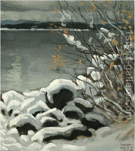 Luminen Maisema (Snowy Landscape) by Akseli Valdemar Gallen-Kallela - Reproduction Oil Painting
