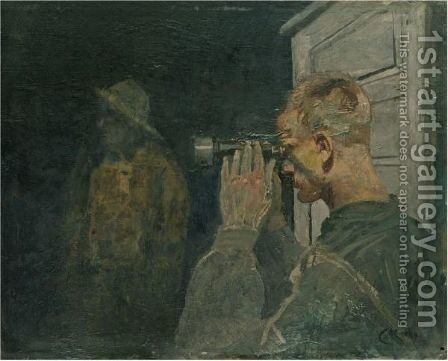 Kystvakten (Coastguards) by Christian Krohg - Reproduction Oil Painting