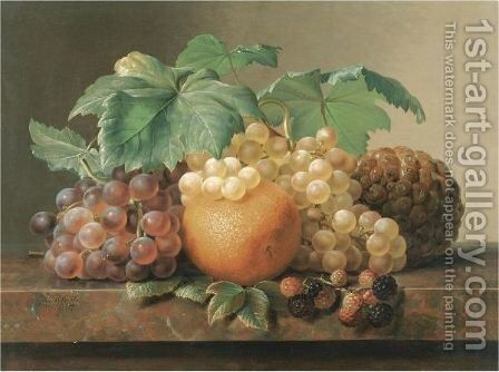 Still Life Of Grapes, Blackberries, An Orange And A Pineapple by Johan Laurentz Jensen - Reproduction Oil Painting