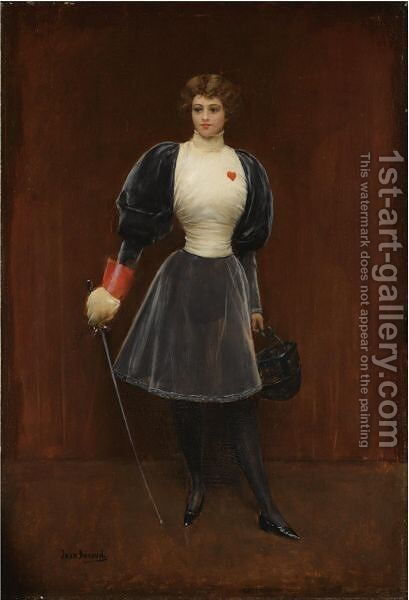 L'escrimeuse 2 by Jean-Georges Beraud - Reproduction Oil Painting