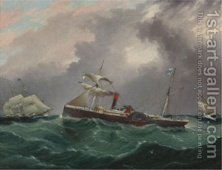 Steam Sailer, San Salvador by James E. Buttersworth - Reproduction Oil Painting