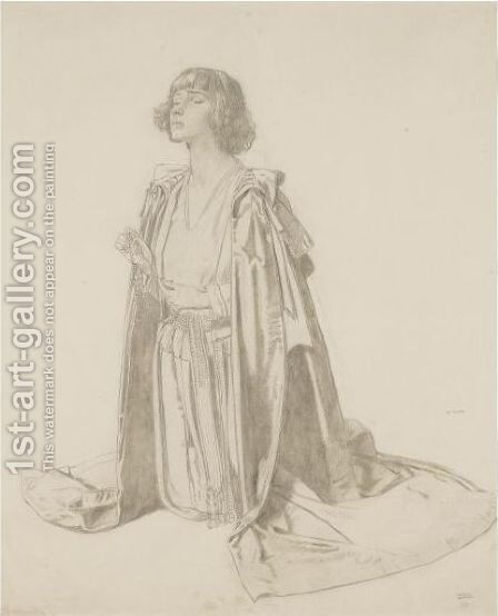 Kneeling Figure Of A Woman - Study For The Holy Well by Sir William Newenham Montague Orpen - Reproduction Oil Painting
