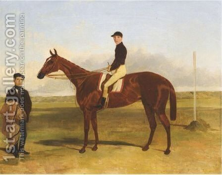 A Bay Racehorse With Jockey Up by Harry Hall - Reproduction Oil Painting