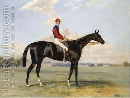 Comte Frederic Lagrange's Black Prince With Quinton Up, At Chantilly by Harry Hall - Reproduction Oil Painting