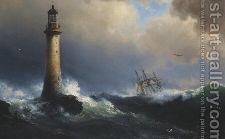 Shipping Off The Eddystone Lighthouse by (after) Vilhelm Melbye - Reproduction Oil Painting