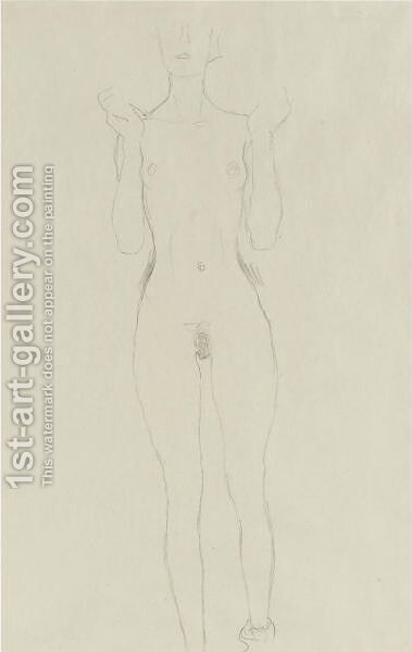 Akt Mit Erhobenen Unterarmen (Nude With Raised Arms) by Gustav Klimt - Reproduction Oil Painting