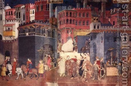 Effects Of Good Government On The City Life (detail) by Ambrogio Lorenzetti - Reproduction Oil Painting