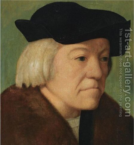Portrait Of A Man, Head And Shoulders, Wearing A Black Coat With A Fur Collar And A Black Hat by (after) Durer or Duerer, Albrecht - Reproduction Oil Painting