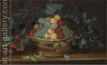Still Life Of White Grapes, Apricots, Cherries And Plums In A Basket, Together With A Bunch Of Hazelnuts On A Ledge by H. V. Oorschot - Reproduction Oil Painting