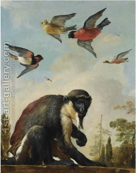 A Diana Monkey On A Chain In A Landscape With Four Colourful Birds In The Sky by Melchoir D'Hondecoeter - Reproduction Oil Painting