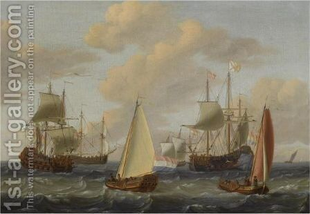 Dutch Merchant Men, A Kaag And Other Sailing Vessels In Choppy Waters by Adam Silo - Reproduction Oil Painting