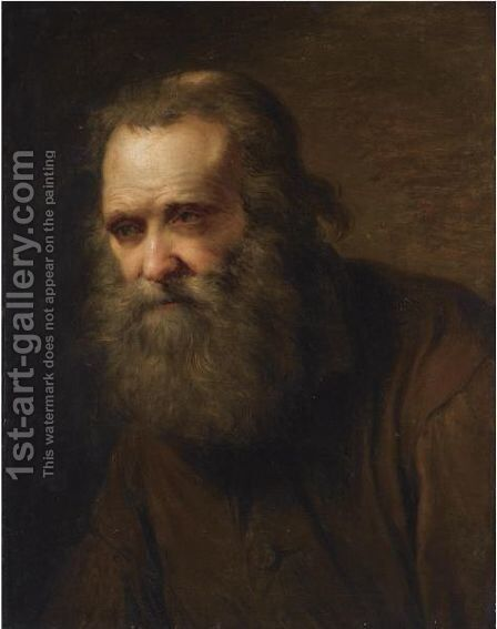 A Tronie Of An Elderly Bearded Man, Bust Length by Dutch School - Reproduction Oil Painting