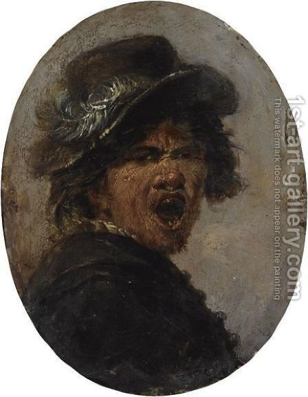 Head Of A Growling Peasant by Haarlem School - Reproduction Oil Painting
