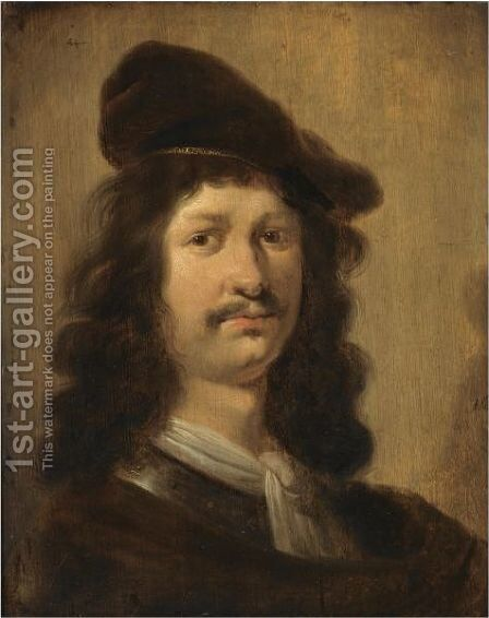 Portrait Of A Young Man With A Beret, Head And Shoulders, Wearing A Brown Costume With A White Chemise And A Gorget by Jan Olis - Reproduction Oil Painting
