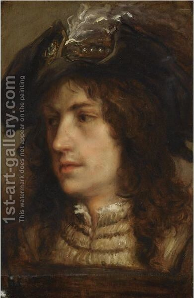 Portrait Of A Young Man With A Feathered Beret, Wearing A Brown Tunic And A White Chemise by (after) Jan Cossiers - Reproduction Oil Painting