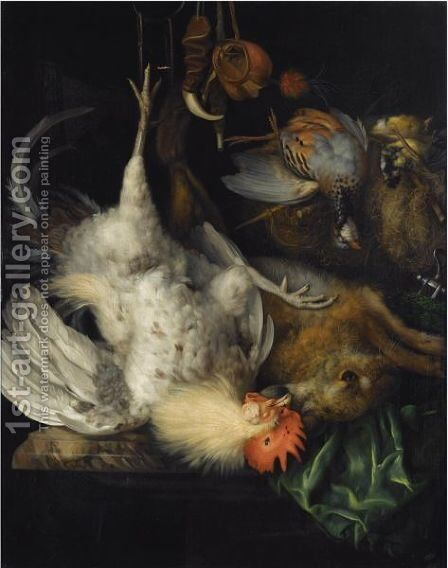 A Hunting Still Life Of A Dead Hare And A Cockerel Suspended From A Hook, A Dead Partridge And Two Songbirds, Together With Various Hunting Gear by Bartholdt Wiebke - Reproduction Oil Painting