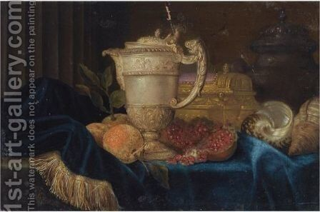 A Still Life With An Ornate Silver Gilt Ewer, A Silver Gilt Jewellery Casket, Shells, Oranges And A Pomegranate by Meiffren (Ephren) Conte (Leconte) - Reproduction Oil Painting