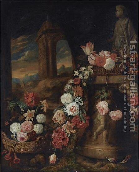 A Still Life Of Roses, Daffodils, Parrot Tulips, Snowballs And Other Flowers In Baskets by Charles Stoppelaer - Reproduction Oil Painting