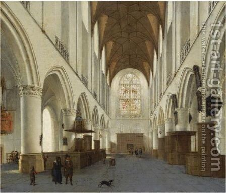The Interior Of The Church Of Saint Bavo, Haarlem by Isaak Nickelen - Reproduction Oil Painting