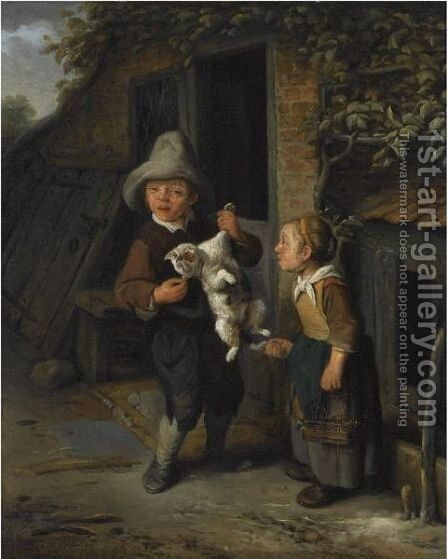 A Young Boy And Girl In Front Of A Cottage, Teasing A Cat by Cornelis Dusart - Reproduction Oil Painting
