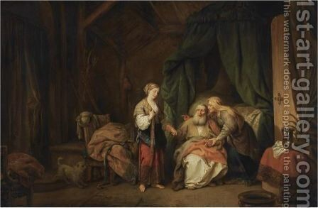 Sarah Offering Hagar To Abraham by Christian Wilhelm Ernst Dietrich - Reproduction Oil Painting