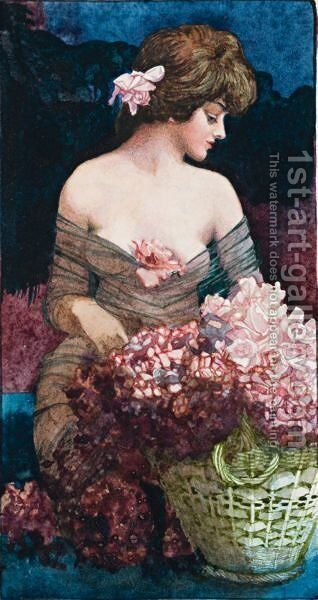 The Flower Seller by Blamire Young - Reproduction Oil Painting