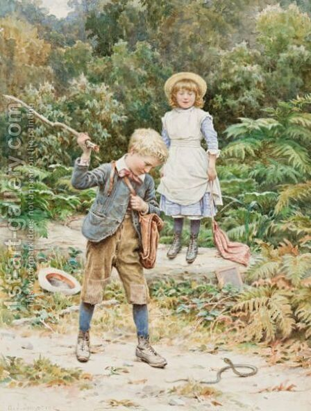 Killing The Snake by Henry James Johnstone - Reproduction Oil Painting