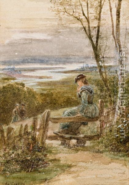 Waiting On The Stile And Saved From Drowning by Ebenezer Wake Cook - Reproduction Oil Painting