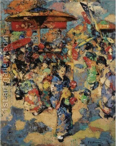 Carnival Day, Japan by Edward Atkinson Hornel - Reproduction Oil Painting