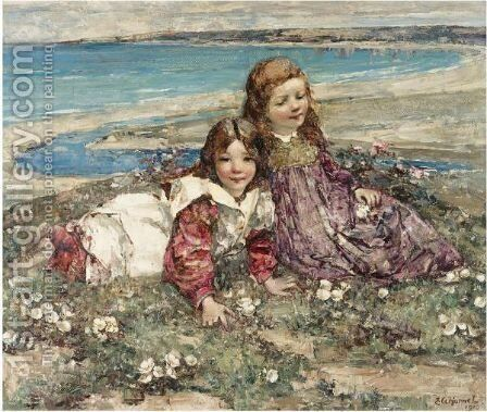 Two Young Girls On A Clifftop by Edward Atkinson Hornel - Reproduction Oil Painting