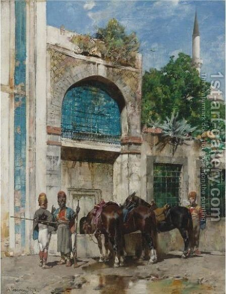 At Rest At The Fountain by Alberto Pasini - Reproduction Oil Painting