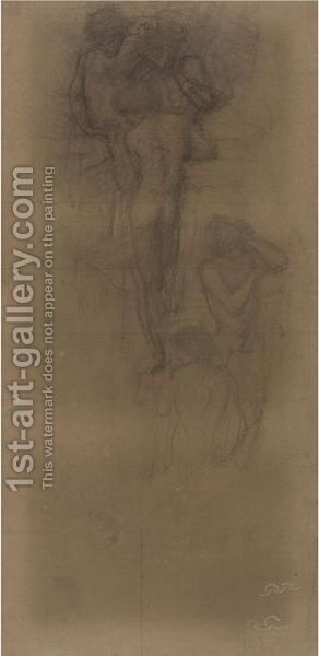 Study For The Hill-Fairies by Sir Edward Coley Burne-Jones - Reproduction Oil Painting