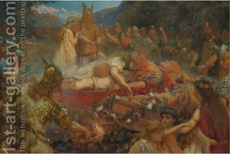 Death Of A Viking Warrior by Charles Ernest Butler - Reproduction Oil Painting