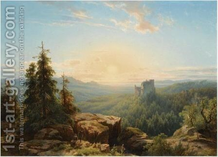 Figures In A Panoramic, Early Evening Landscape by Cornelis Lieste - Reproduction Oil Painting