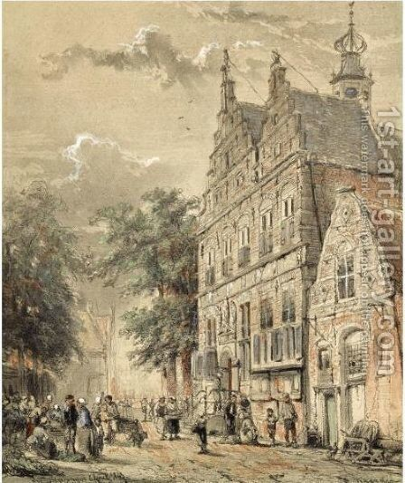 Many Figures In Front Of The Townhall, Naarden by Cornelis Springer - Reproduction Oil Painting