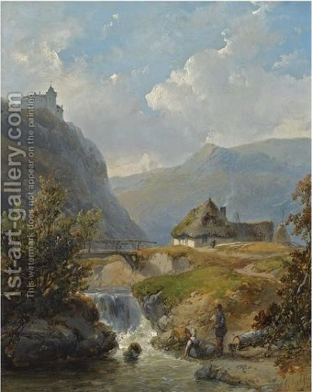 Two Figures Conversing In A Mountainous Landscape by Andreas Schelfhout - Reproduction Oil Painting