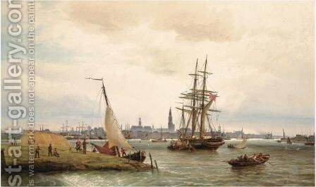The Harbour Of Antwerp With A View From The Left Bank Over The River Scheldt And The Onze Lieve Vrouw Cathedral In The Background by Cornelis Christiaan Dommelshuizen - Reproduction Oil Painting