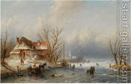 Skaters On A Frozen Waterway 2 by Jan Jacob Coenraad Spohler - Reproduction Oil Painting