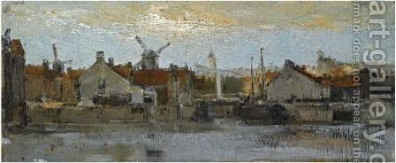 A View Of A Dutch Town At The Waterfront by Jacob Henricus Maris - Reproduction Oil Painting