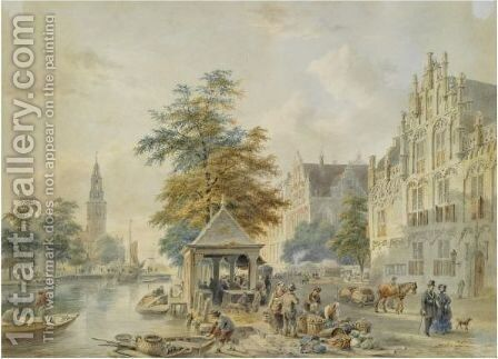 A View Of Amsterdam With The Montelbaanstoren In The Distance by Bartholomeus Johannes Van Hove - Reproduction Oil Painting