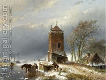 A View Of A Frozen Canal With Figures Near A Horse Drawn Slegde by Andreas Schelfhout - Reproduction Oil Painting