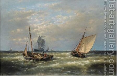 Hauling In The Nets 2 by Abraham Hulk Jun. - Reproduction Oil Painting