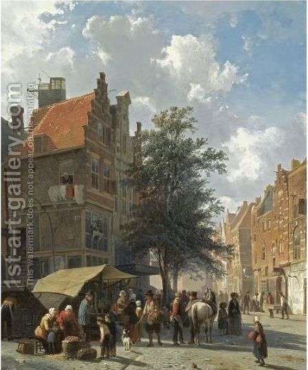 Market Scene In The Sunlit Streets Of A Dutch Town by Cornelis Springer - Reproduction Oil Painting