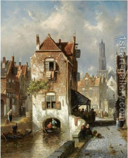 A View Of Utrecht, The Dom Tower In The Distance by Charles Henri Leickert - Reproduction Oil Painting