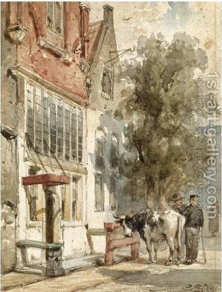 A Street Scene In Monnickendam by Cornelis Springer - Reproduction Oil Painting