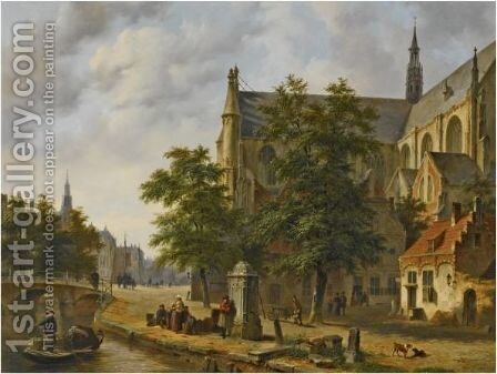 Figures Near A Church In A Dutch Town 2 by Bartholomeus Johannes Van Hove - Reproduction Oil Painting