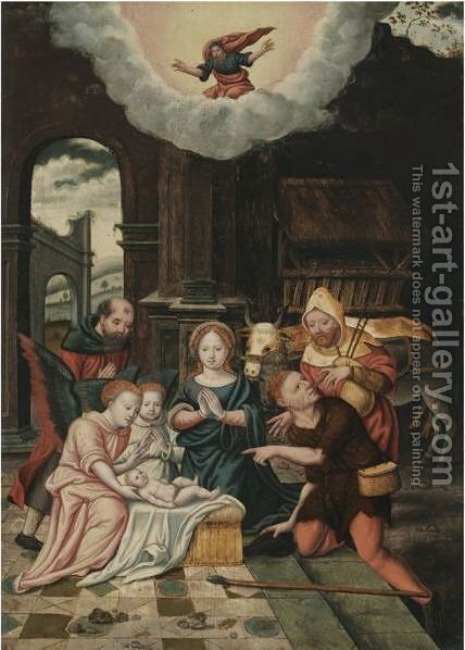 The Adoration Of The Shepherds by Antwerp School - Reproduction Oil Painting